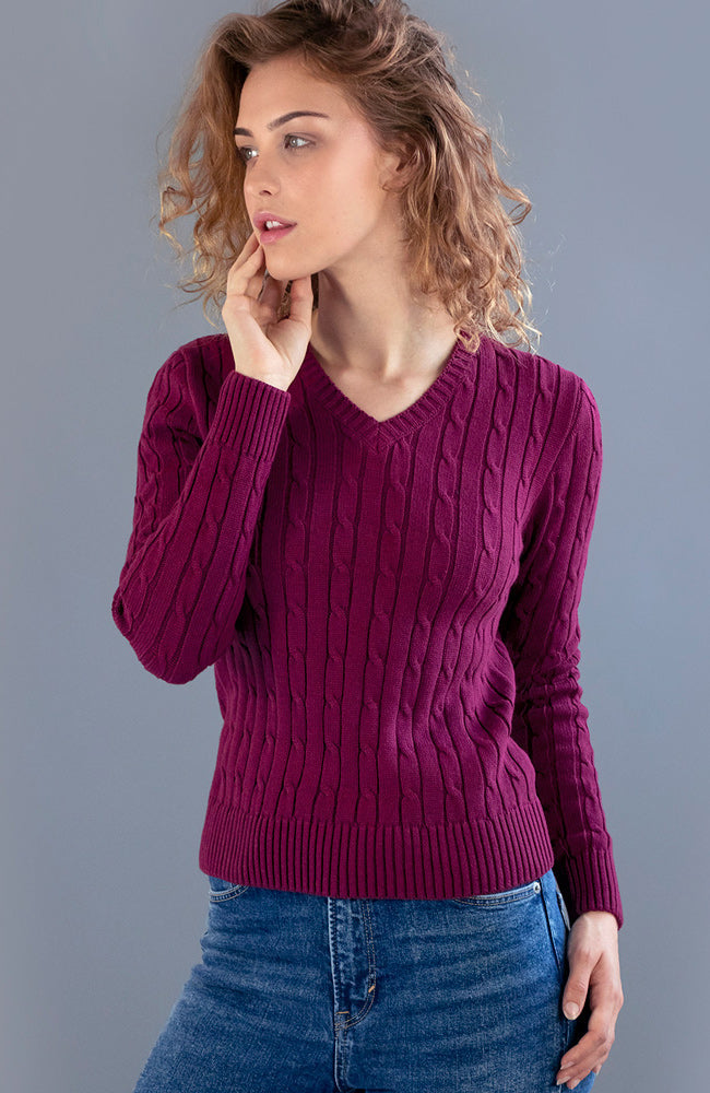 womens burgundy cotton cable cotton jumper
