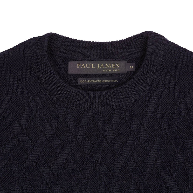 round neck mens navy fine merino wool sweater