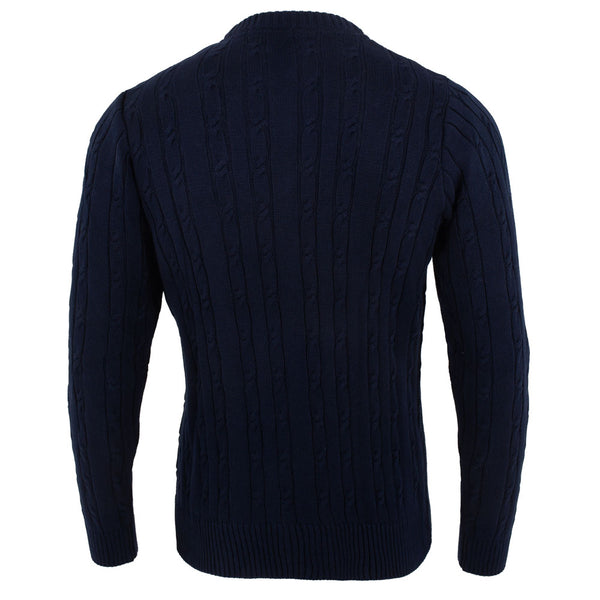 mens navy quality cotton cable sweater back