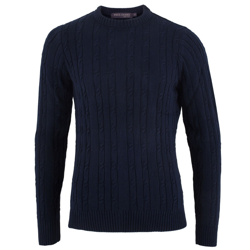 mens navy quality cotton cable sweater front