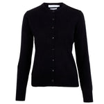 Ladies black quality lightweight cotton cardigan front