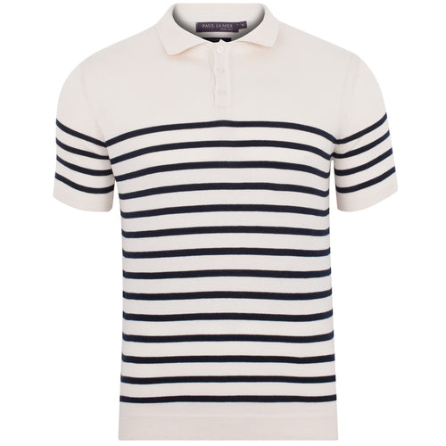 mens ecru stripe short sleeve polo shirt