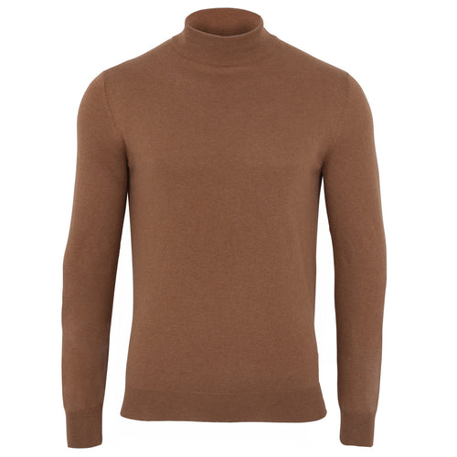 men camel luxury mock neck cotton fine knit jumper