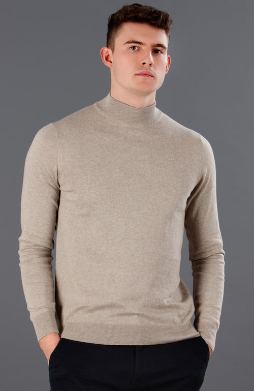 mens beige mock neck cotton jumper