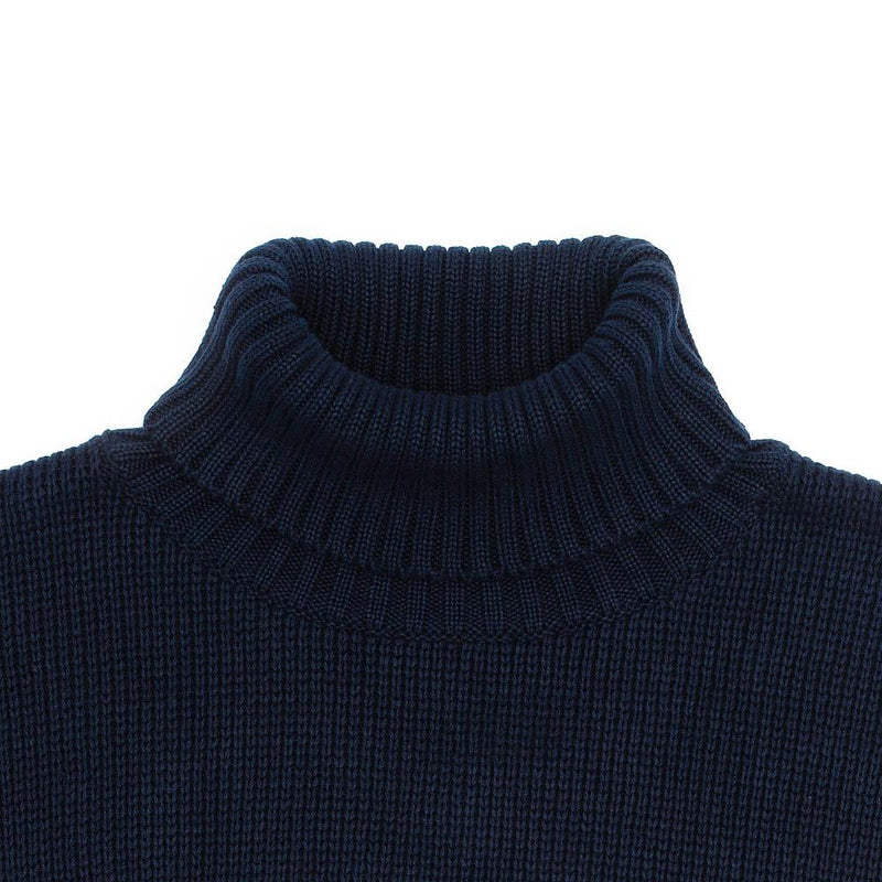 mens navy cotton submariner jumper neck