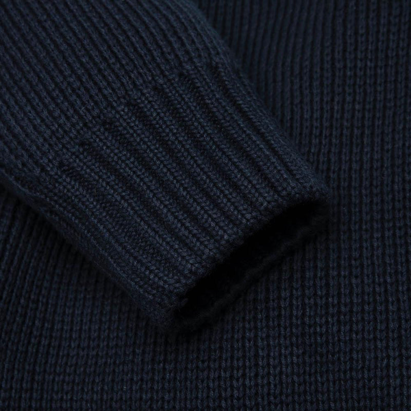mens navy cotton submariner jumper close up