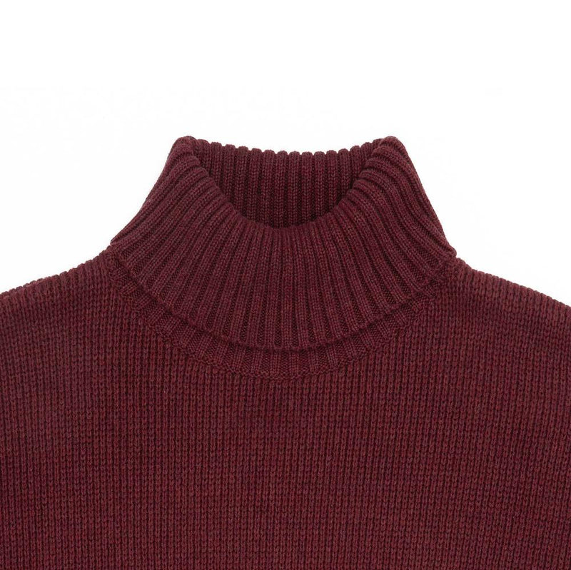 mens burgundy cotton submariner jumper neck