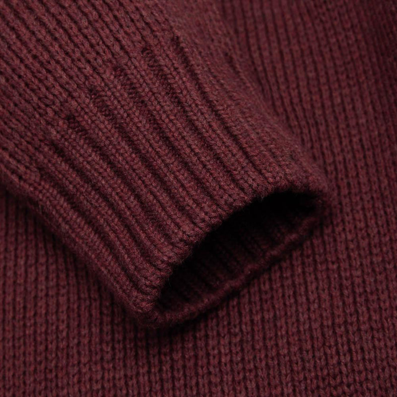 mens burgundy cotton submariner jumper sleeve