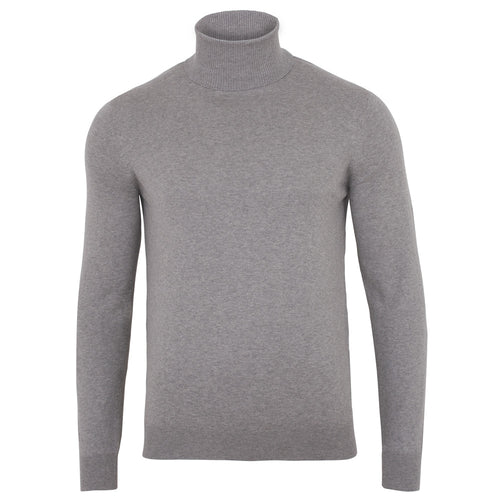 mens light grey roll neck fine knit cotton jumper