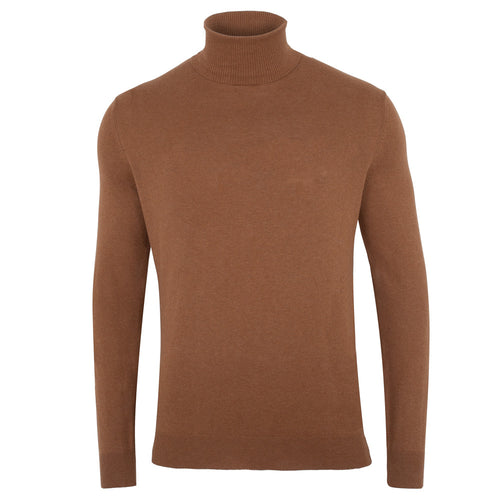 mens camel roll neck fine knit cotton jumper