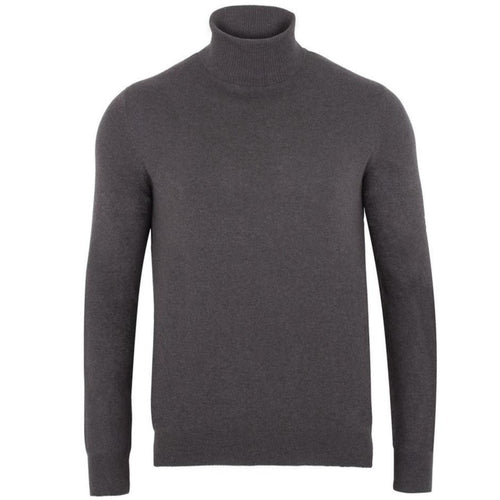 charcoal cotton roll neck mens jumper