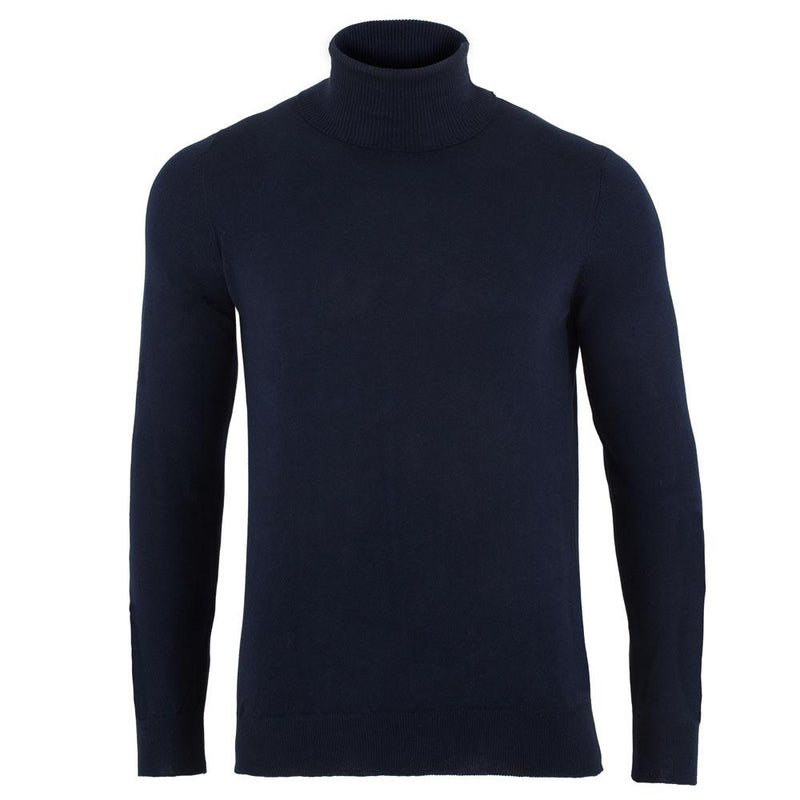 mens navy cotton turtle neck sweater front