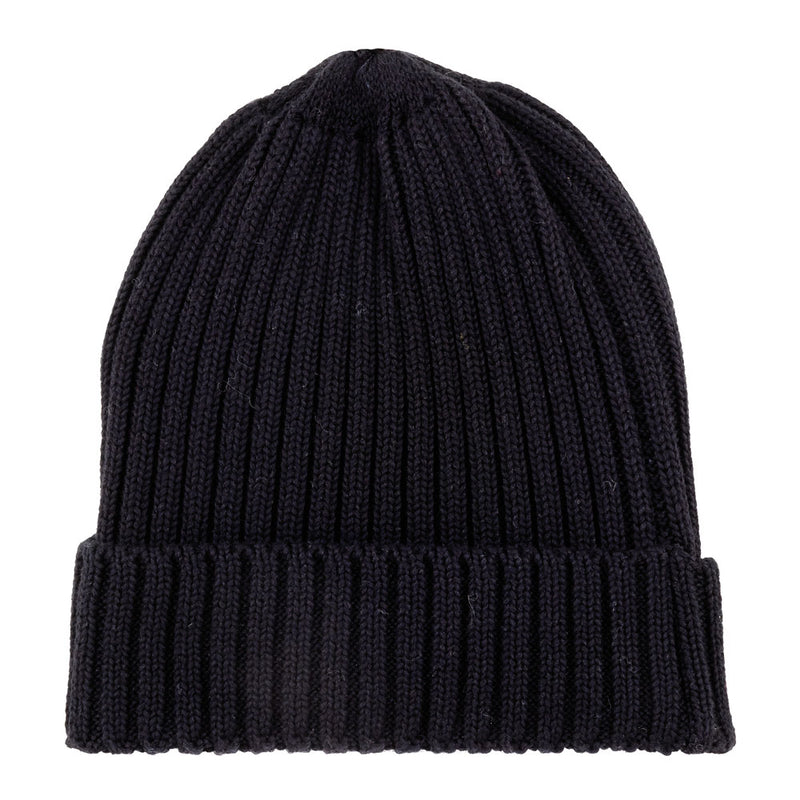 Black cotton ribbed beanie hat