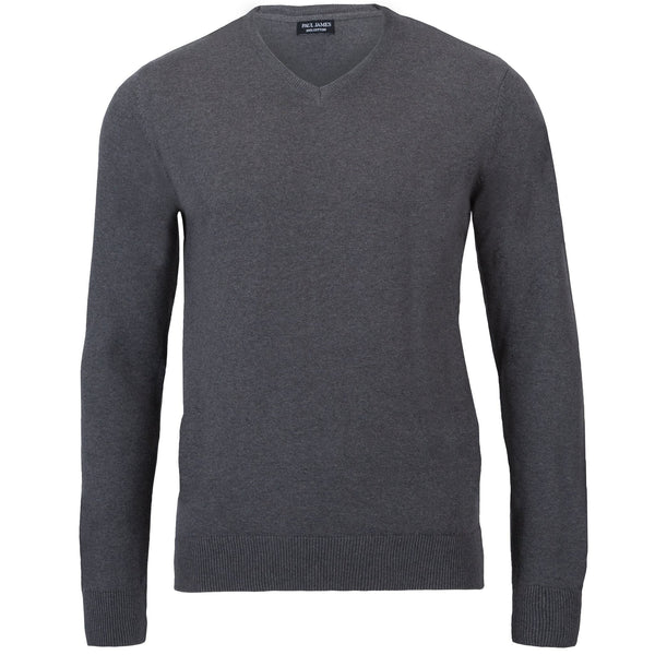 V-Neck 100% Cotton Jumper - Paul James Knitwear
