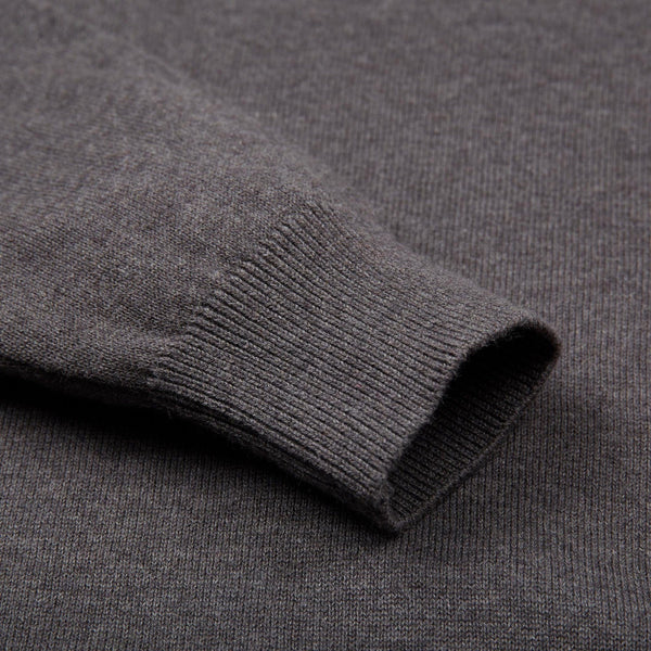 mens charcoal v neck cotton jumper sleeve detail