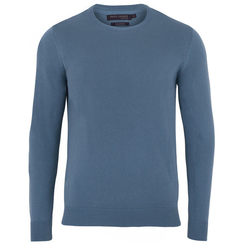 light blue mens quality thin cotton round neck jumper