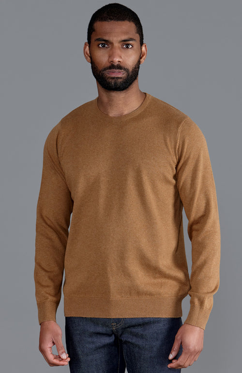 mens camel round neck cotton jumper