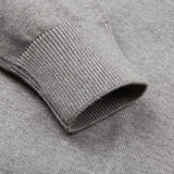 mens ash grey crew neck cotton jumper sleeve detail