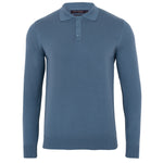 mens light blue luxury long sleeve cotton polo shirt