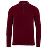 mens dark burgundy long sleeve knitted polo shirt