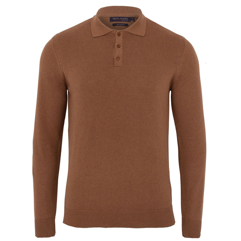 mens camel brown long sleeve knitted polo shirt