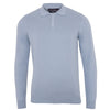 mens chalk blue long sleeve knitted polo shirt