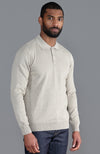 mens fine knit polo shirt beige jumper
