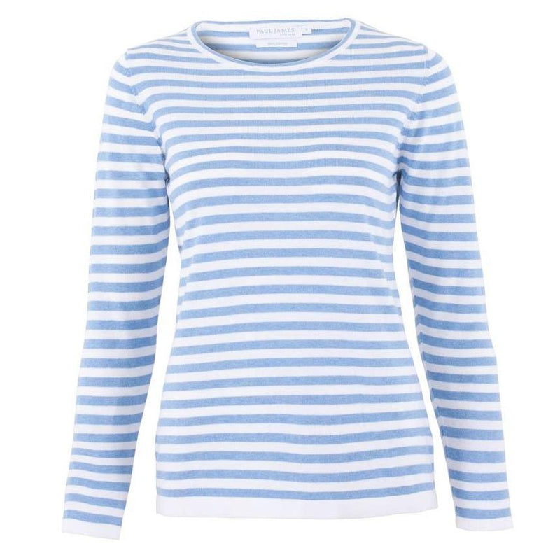 blue womens cotton breton stripe jumper front
