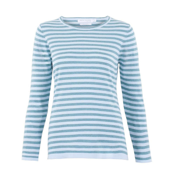 teal womens cotton breton stripe jumper front