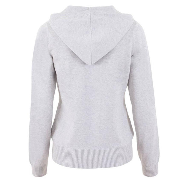womens grey zip hooded jumper back