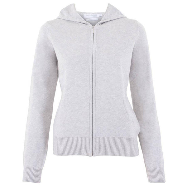 womens grey zip through hooded jumper
