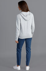 womens thin quality light grey soft cotton hoodie