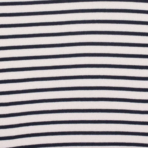 ecru womens breton stripe cotton roll neck jumper close up