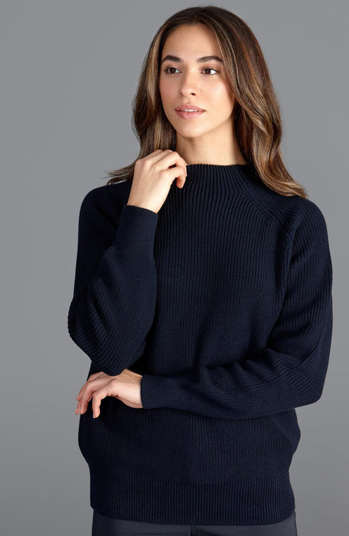womens mock neck cotton rib jumper