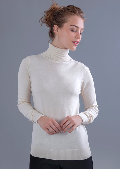 off white womens cotton lightweight roll neck jumper