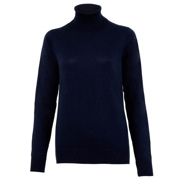 black womens cotton roll neck jumper front