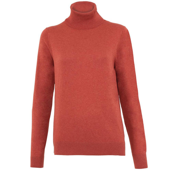 tan womens cotton roll neck jumper front
