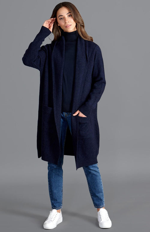 womens lambswool navy long line cardigan