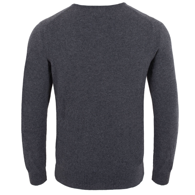 Charcoal grey mens luxury cashmere crew neck jumper back