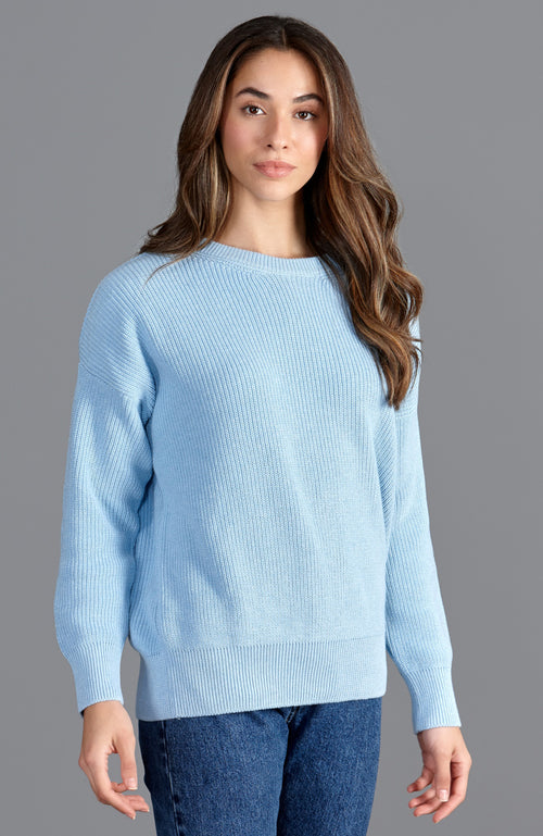 womens blue fisherman rib cotton round neck jumper