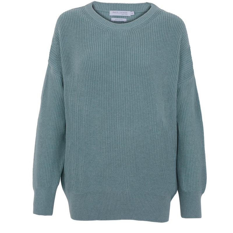 womens mint green cotton rib round neck jumper
