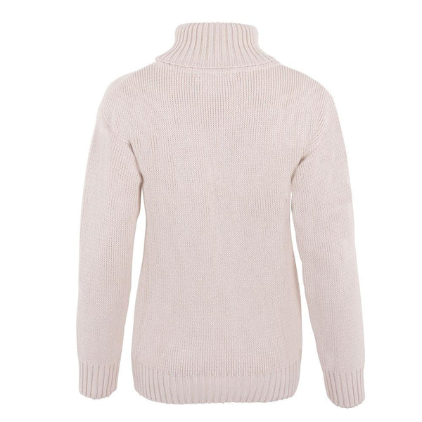 ladies cream quality cotton chunky roll neck sweater back