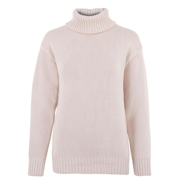 ladies cream quality cotton chunky roll neck sweater front