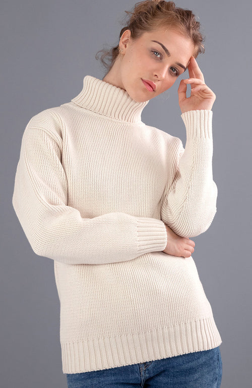womens chunky submariner cotton roll neck jumper