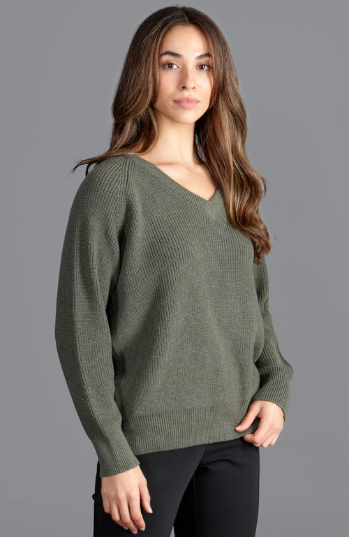 khaki womens quality soft cotton v neck rib jumper