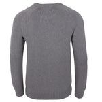 grey mens cotton chunky submariner crew neck sweater back