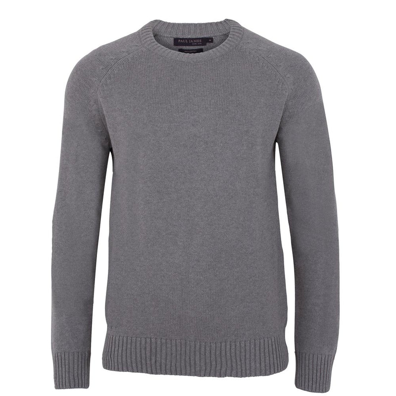 mens grey cotton chunky submariner crew neck sweater