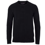black mens cotton chunky submariner crew neck sweater