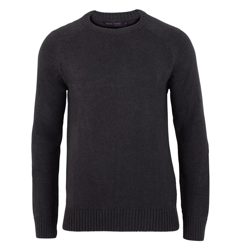 charcoal mens cotton chunky submariner crew neck sweater