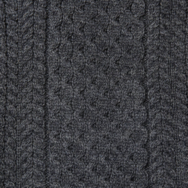 Mens charcoal British wool chunky fisherman's aran jumper knit